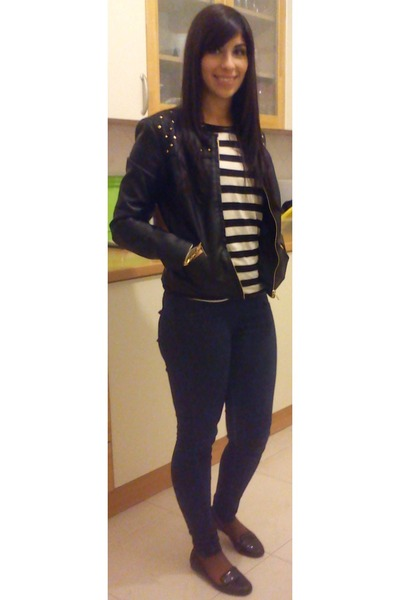 Stradivarius coat - Bershka jeans - Bershka blouse - glitter Bershka loafers