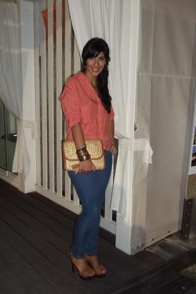 Bershka jeans - Bershka bag - salmon Bershka blouse