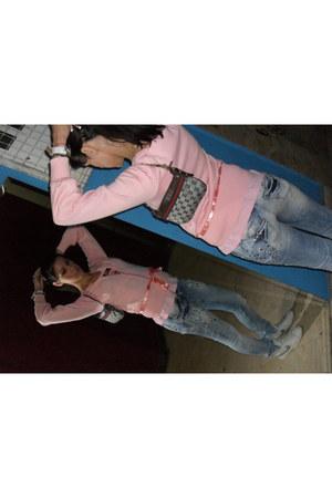 Terranova jeans - Zara cardigan - Gucci purse - Guess blouse - nike sneakers