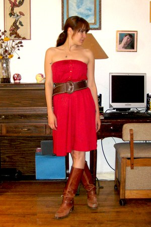brown vintage from Ebay boots - red thrifted dress - brown gift belt