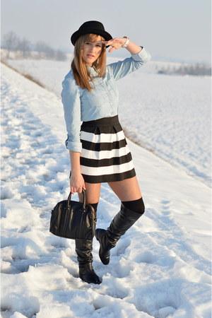 black leather Bata boots - black Armani Jeans hat
