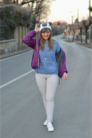 blue shein sweater - heather gray beanie pull&bear hat