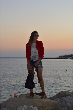 red vintage blazer - blue jeans Stradivarius shirt