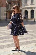 navy floral Metisu dress - navy Zara shoes - black zaful sunglasses
