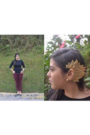 ear cuff earrings - Zara jeans - BLANCO flats - Zara top