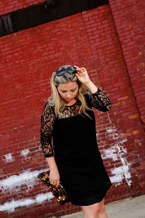 black lace Forever21 dress - bronze sequins TJ Maxx bag