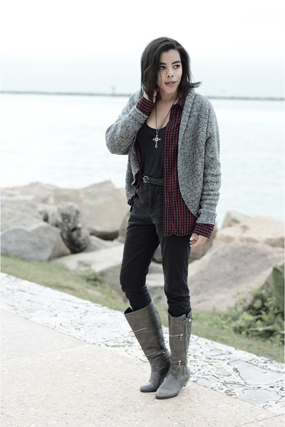 go jane boots - Forever 21 cardigan - asos pants
