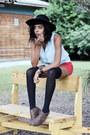 Matisse-boots-h-m-dress-asos-hat-forever-21-shorts