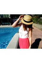 salmon chiffon Primark skirt - tan Seaside hat - light purple Salsa  DIY jacket