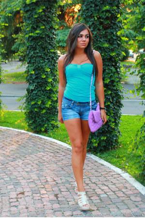 aquamarine Terranova top - amethyst chic bag - skinny shorts Terranova shorts