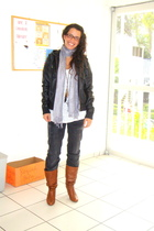 black coat - gray scarf - white shirt - orange shoes