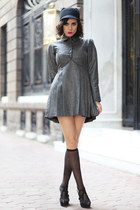 black Zara hat - gray wwwletthemstarecom dress - black Zara heels