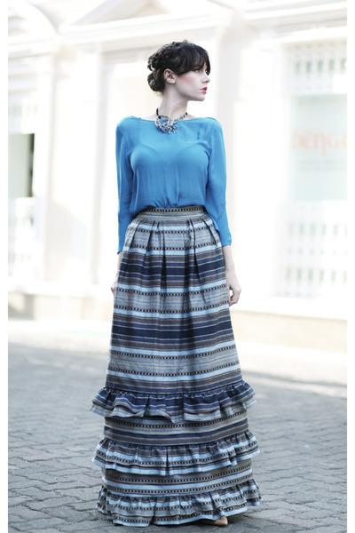 blue wwwletthemstarecom skirt - sky blue Zara blouse