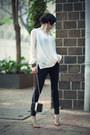Ivory-let-them-stare-blouse-black-mango-jeans-neutral-zara-heels
