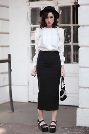 black wwwletthemstarecom skirt - ivory wwwletthemstarecom blouse