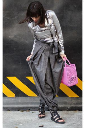 silver Mango jacket - silver wwwletthemstarecom pants - black Zara sandals