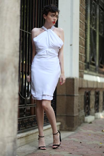 white Let them starecom dress - black asos heels