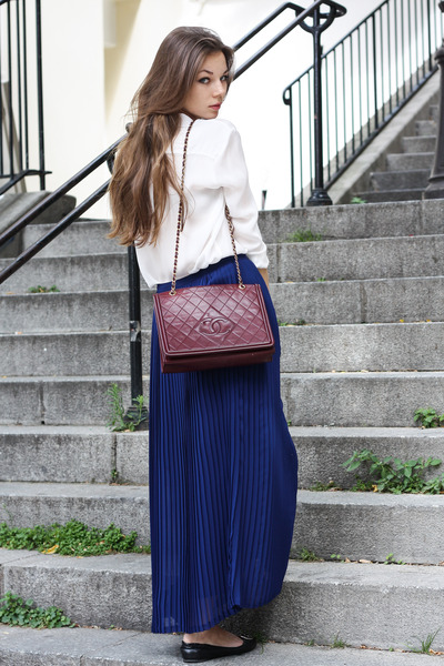 Chanel bag - Zara blouse - SANDRO skirt - tory burch flats