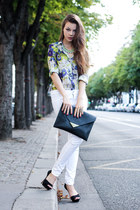 blue Zara shirt - white Jeans jeans - black H&M bag - black Zara heels