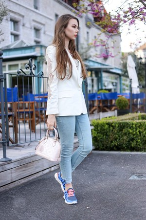 salmon nike sneakers - sky blue acne jeans - white H&M blazer