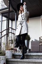 black Burberry boots - eggshell Burberry coat - black Levis jeans