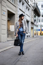 black 31 Phillip Lim bag - heather gray IRO coat - sky blue H&M jeans