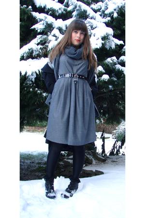 gray H&M dress - black belt - black jacket - gray scarf - silver etam accessorie
