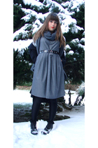 gray H&M dress - black belt - black jacket - gray scarf - silver etam accessorie