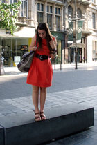orange dress - brown belt - brown accessories