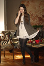 White-chokolat-dress-brown-talking-french-cardigan-brown-shoes-gold-urban-
