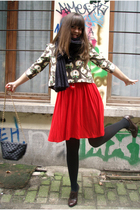 red H&M dress - brown Vero Moda jacket - black Wolford stockings - brown shoes -