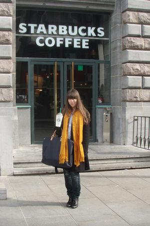 orange scarf - blue G-Star raw jeans - black coat - black shoes - white shirt