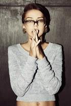 black unknown glasses - silver unknown sweater