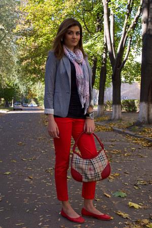 red Braska flats - heather gray Mango blazer - Centro scarf - Burberry bag