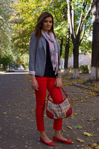 red Braska flats - heather gray Mango blazer - Centro scarf - Burberry bag