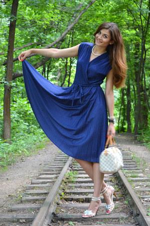 blue vintage dress - Louis Vuitton bag