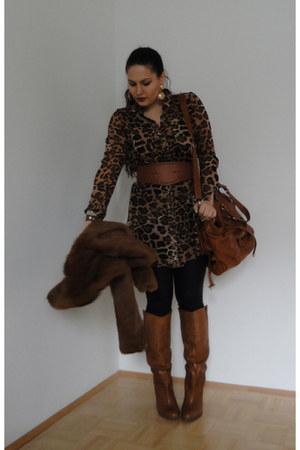 tawny leather Aldo boots - tawny waist Bershka belt