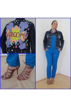 navy handmade Anasty Art jacket - blue jumpsuit Tally Weijl suit