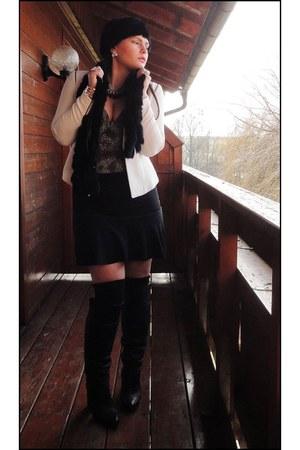 black Zara boots - white H&M blazer
