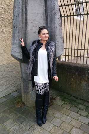 black Zara boots - black leather Mango jacket - white loose H&M shirt