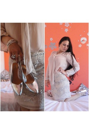 silver sparkling H&M bag - light pink sequined H&M skirt - silver Zara heels