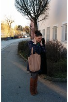 tawny leather Aldo boots - navy birds print Monsoon dress - tan leather Zara bag
