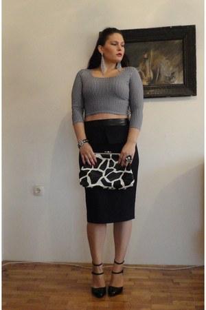 black peplum Orsay skirt - crop fb sister top - black Zara heels