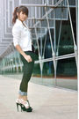 White-jacket-black-jeans-black-charles-keith-shoes