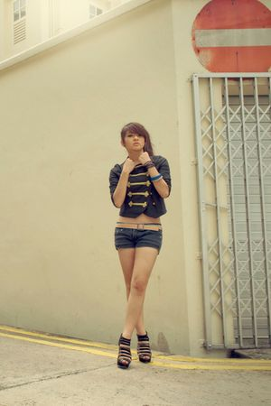 black bysi jacket - black This Fashion shorts - black new look shoes