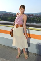 eggshell Forever21 skirt - tawny Parfois bag - bronze meli melo belt