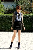green Stradivarius cardigan - black Romanian brand shoes - blue New Yorker shirt