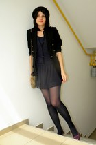 navy polka dot Bershka dress - black New Yorker hat - black tailor made blazer