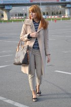 camel Otto Hermann coat - dark khaki calvin klein pants - navy COS t-shirt