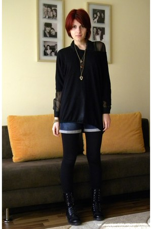 black Romanian brand boots - black sheer vintage shirt - black Bershka tights -